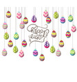 easter eggs hanging on the wire background vector image vector image