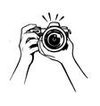 female hand holding camera on white background vector image vector image