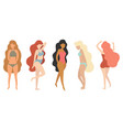 flat girls in swimsuit vector image