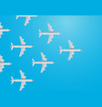 group of modern aircrafts on blue background top vector image vector image