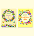 hello spring flower frame for greeting card design vector image vector image