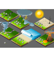 isometric natural disasters on button flag vector image vector image