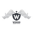 luxury wings emblem vector image vector image