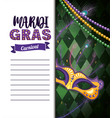mardi gras card with necklace balls and mask vector image