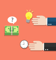 money thinking of choosing idea or time vector image vector image