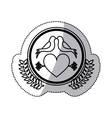 monochrome sticker with heart crossed by arrow in vector image vector image