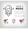 Music player icon girl listening music in vector image vector image