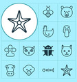 nature icons set collection of bumblebee night vector image vector image