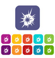 nucleate explosion icons set flat vector image vector image