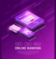 online banking isometric web page vector image