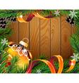 Orange Christmas ball on wooden board vector image vector image