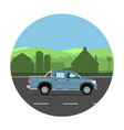 pickup truck on road vector image vector image