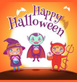 poster with kids in costumes of witch vampire and vector image