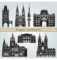 Prague landmarks and monuments vector image vector image