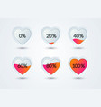 rating hearts set heart shape filled with love vector image vector image