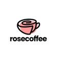 rose cup coffee tea flower logo icon vector image vector image