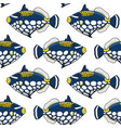 seamless pattern with clown triggerfish fish vector image vector image