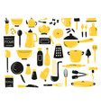 set hand drawn kitchen utensils equipment vector image