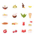 set icons rice with chili pepper salad vector image