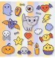 set of halloween kawaii cute sticker doodles vector image