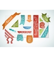 Set of vintage colorful paper label and ribbon