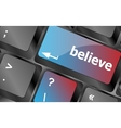 Social media key with believe text on laptop vector image vector image