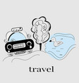 street view with car and lake taxi modern vector image