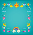 sun clouds rainbow birds nature frame border vector image vector image