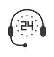 support icon timer 24 hours and headphone pixel vector image vector image