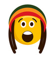 surprised emoji with reggae hat vector image vector image