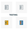 testing icon set four elements in diferent styles vector image