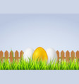 three eggs on a grass for vector image vector image