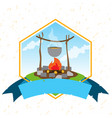 tourism logo hiking climbing traveling color vector image vector image