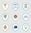 travel icons set with location marker summer hat vector image vector image