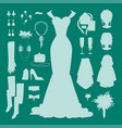 wedding bride dress accessories fashion vector image vector image