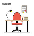 work desk flat design objects vector image vector image