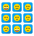 Yellow Smiley Faces Squared App Icon Set vector image vector image