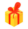 yellow xmas gift box icon isometric style vector image vector image