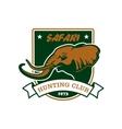 Hunting sport club symbol Safari hunt shield sign vector image