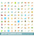 100 city elements icons set cartoon style vector image vector image