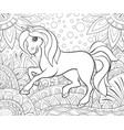 a children coloring bookpage a cute horse on the vector image