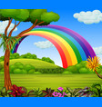 a colorfull rainbow with the garden view vector image