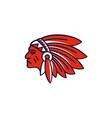 american native indian chief headdress logo vector image vector image