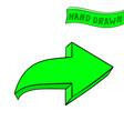 arrow green sign hand drawn sketch vector image vector image