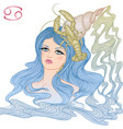astrological sign cancer as a beautiful girl vector image vector image