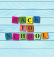 back to school card with cartoon letters vector image vector image
