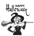 beautiful sexy witch holding broomstick happy vector image vector image
