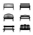 Bench sign set garden benches icon silhouette