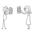 cartoon man and woman showing mobile phones vector image vector image