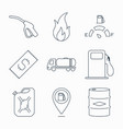 collection outline fuel station icons vector image vector image